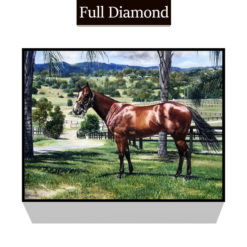 Horse prairie landscape DIY Full Resin Round Diamond Painting Square Mosaics Cross Stitch Embroidery Stones Painting Craft gift