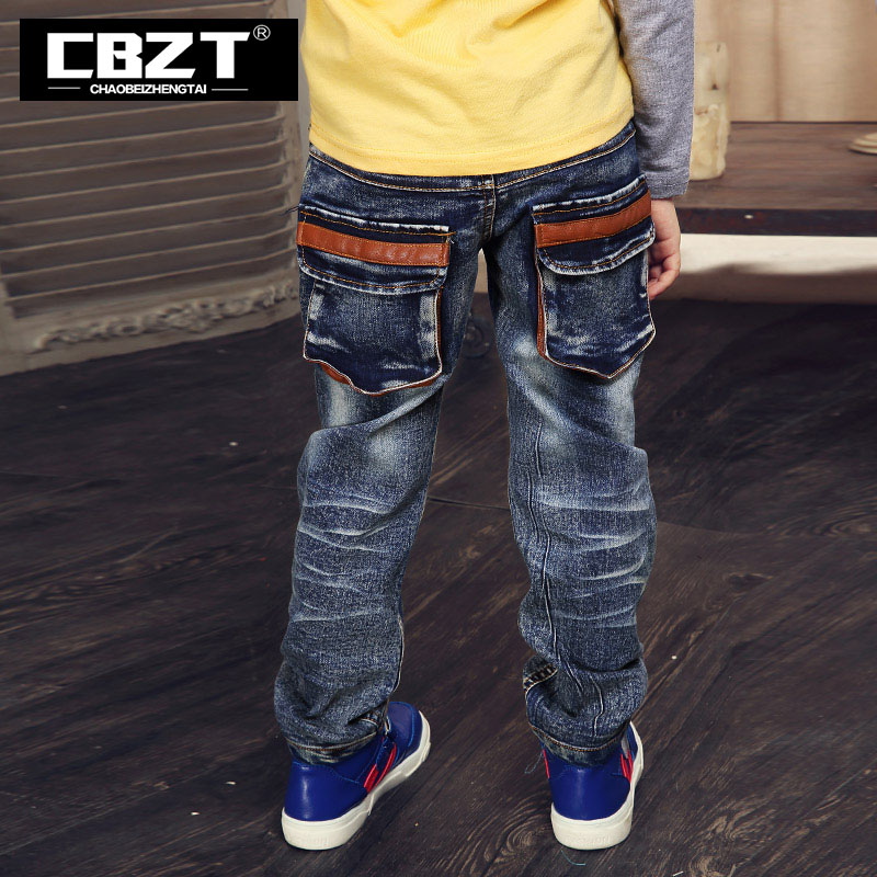 Fashion style brand  3-12 age spring autumn straight kids jeans boys,full length cotton children pants,solid blue kids trousers