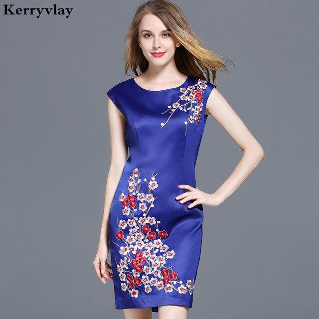 Bohemian Summer Blue Floral Embroidered Dress Zomerjurken 2018 Women  Sleeveless Package Hip Bodycon Dress Dames Jurken