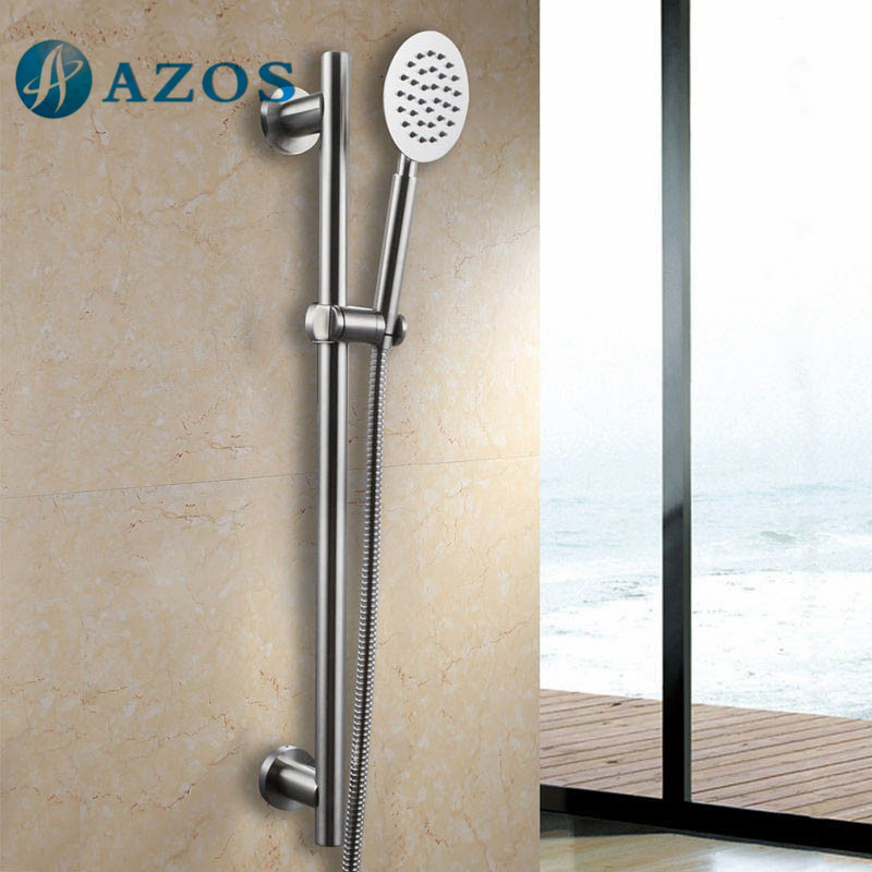 All Metal SUS304 Stainless Steel Hand Stainless Steel Shower Head Adjustable Slide Bar Brushed Finish LYTZ066