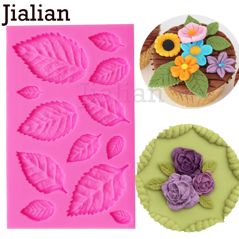 Jialian DIY Tree leaf Press Molding Foil Mold Silicone Mold Cake Decor Fondant Cake 3D Leaves Silicone Mould F0967
