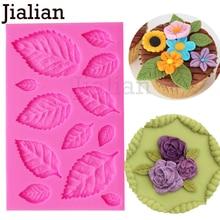 Jialian DIY Tree leaf Press Molding Foil Mold Silicone Mold Cake Decor Fondant Cake 3D Leaves Silicone Mould F0967