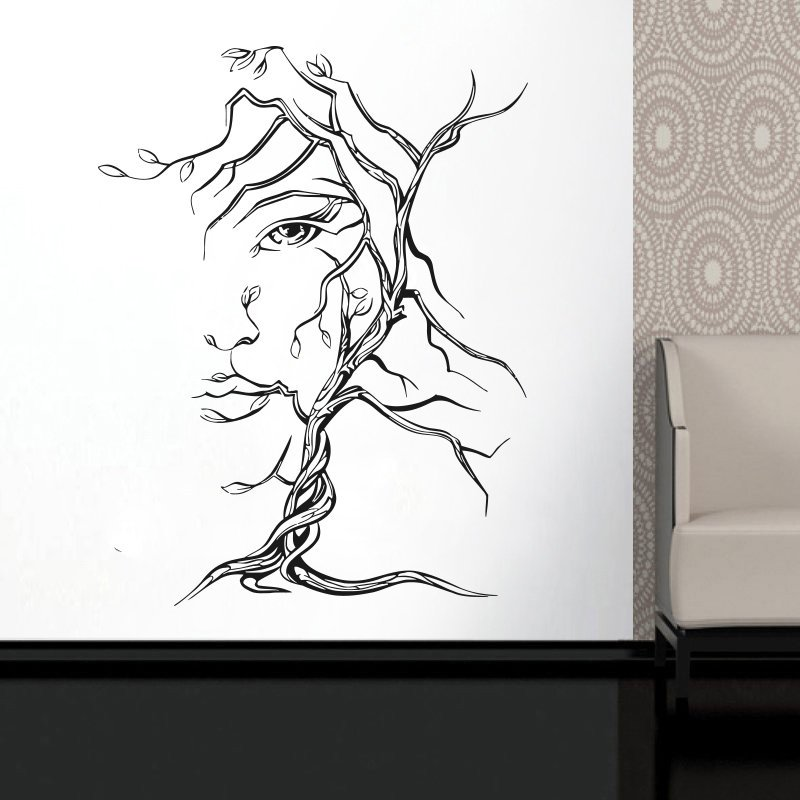 Sexy Girl Nature Art Decorations For Home Housewares Tree Woman Face Wall Decal Window Vinyl Sticker Beauty Salon Decor LR70 in Wall Stickers from Home Garden