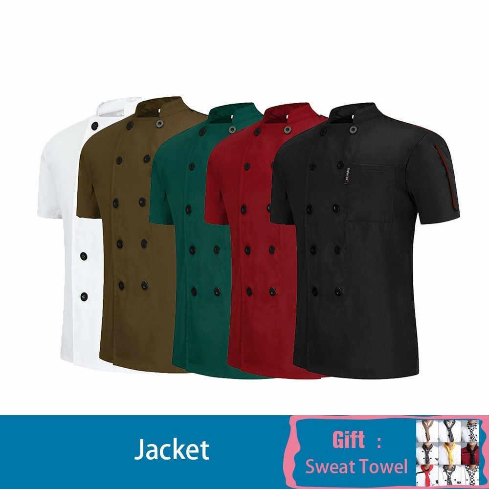 Верхняя одежда для повара Униформа с короткими рукавами Кухня Парикмахерская питание в отеле суши для официантов и официанток рабочая одежда свободный шарф подарок