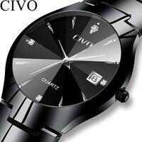 CIVO, модные мужские часы, лучший бренд, Роскошные, водонепроницаемые, пара часов, серебристый ремешок из нержавеющей стали, наручные часы для ...