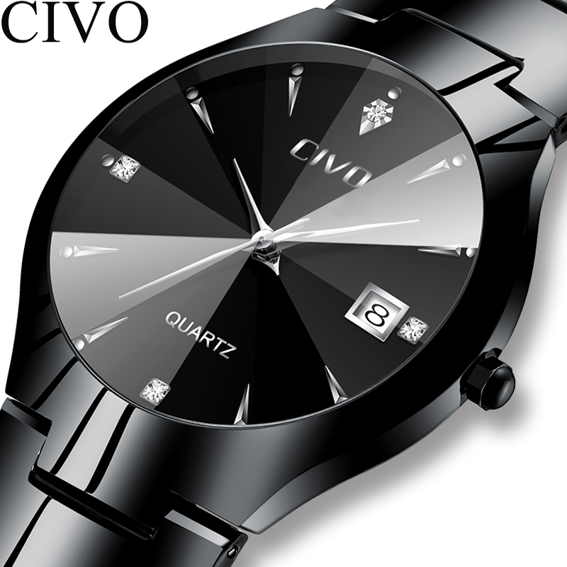 CIVO Fashion Men Watches Top Brand Luxury Waterproof Couple Watch Sliver Stainless Steel Strap Wristwatch For Man Women Clock