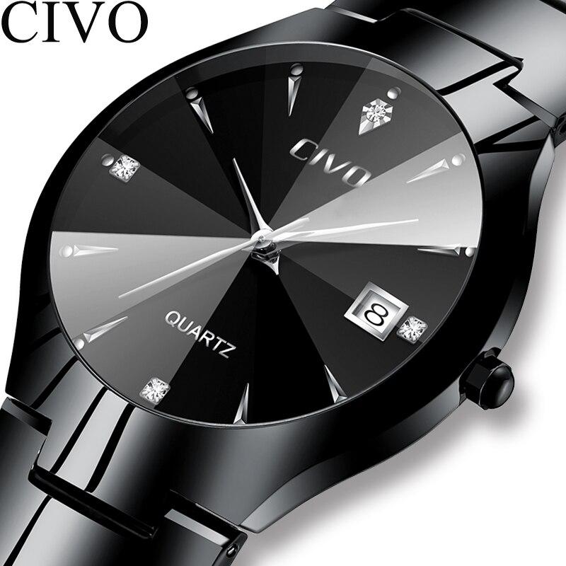Civo moda masculina relógios topo marca de luxo à prova dcouple água casal relógio tira aço inoxidável pulseira relógio de pulso para homem mulher