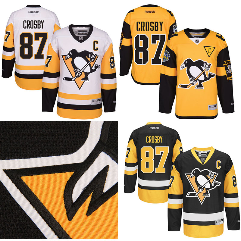 3394c1cc3 ... Mens Pittsburgh Penguins hockey jerseys 87 Sidney Crosby Black Yellow White  Premier Custom Jersey 100% ...