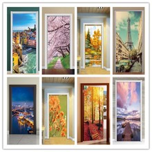 Creative Landscape  Scenery Oil Painting Door Sticker Paint Living Room Corridor PVC Wall Stickers Door Decorative window beach landscape decorative wall sticker