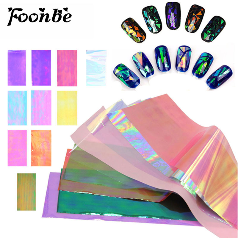 10 pcs Colorful Broken Mirror Glass Nail Sticker Foil Tips Stencil Decal Beauty Art Care DIY nail art Foonbe