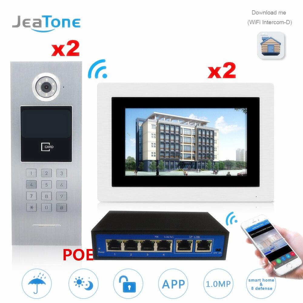 7'' Touch Screen WIFI IP Video Door Phone Intercom 2 Floors 2 Doors Building Access Control System Support Password/IC Card/POE