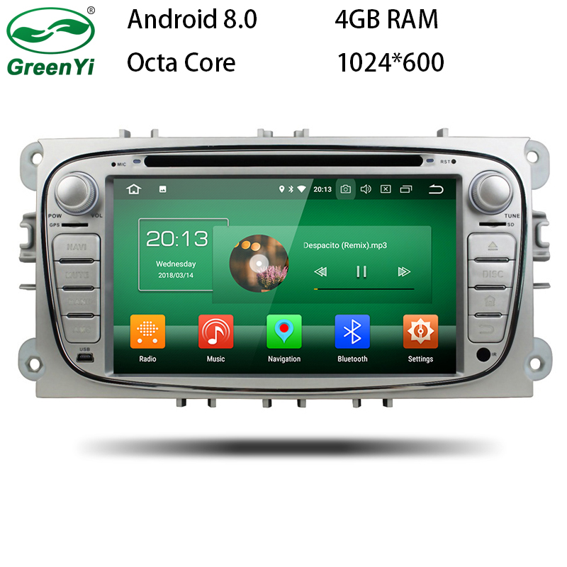 GreenYi 1024*600 4GB RAM Android 8.0 Octa Core Car DVD Player GPS Navi For Ford Focus Galaxy with Audio Radio Stereo Head Unit цена 2017