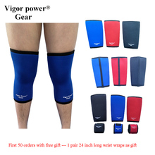 Free Shiping 7mm knee sleeves strong warm knee support vigor power gear for power lifting crossfit weight lifting 2 pcs