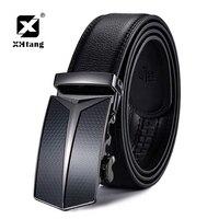 Xhtang Men S Genuine Leather Belt Luxury Automatic Buckle Belt Ratchet Leather Belts For Men High