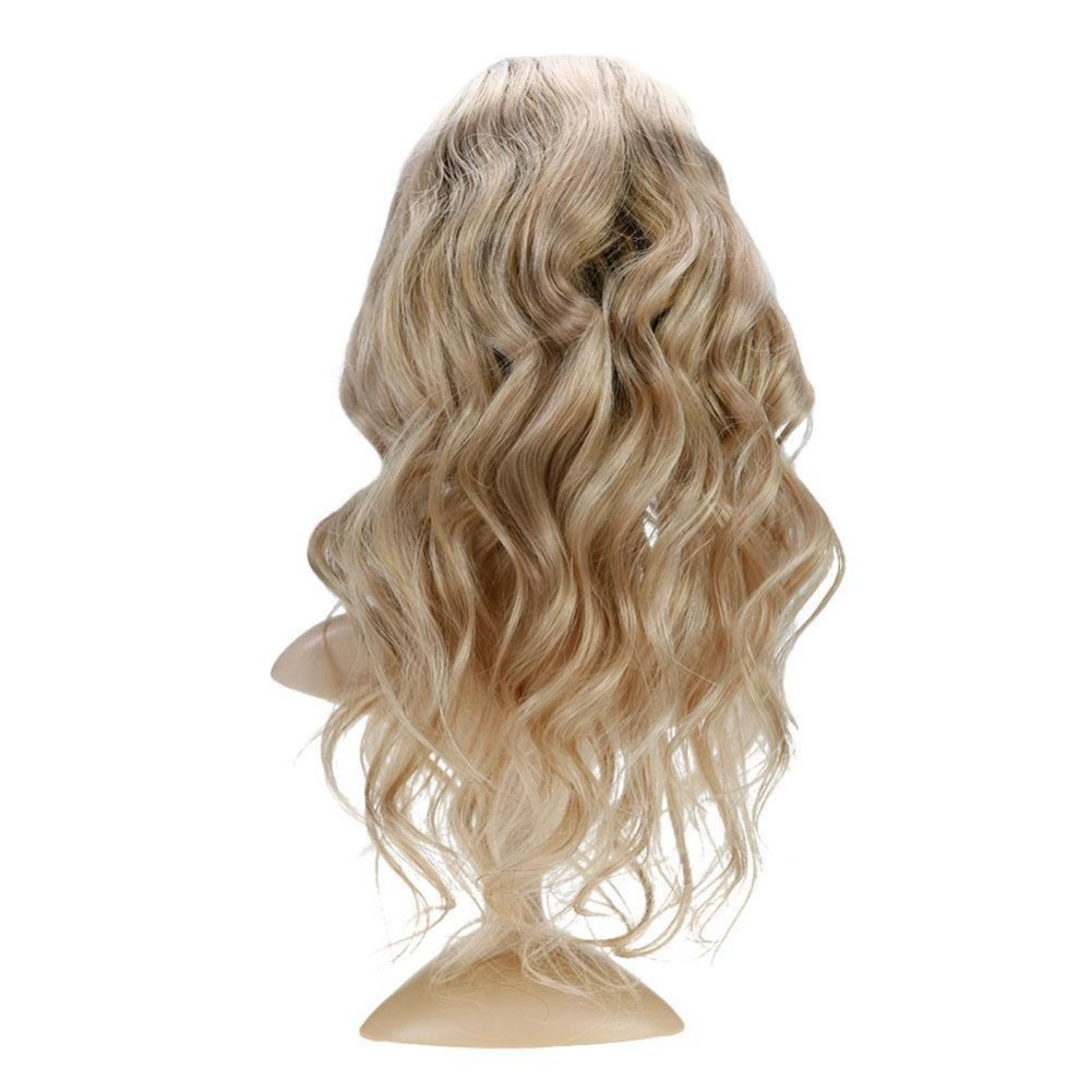 Full Shine Human Hair Long Natural Wave Wigs Machine Remy Lace Front Wig With Baby Hair Color 6 Fading To 18 Highlight With 18