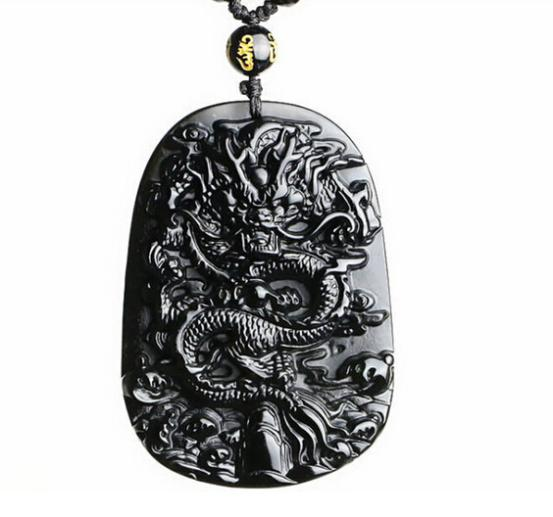 Free shipping natural obsidian pendant dragon jade pendant zodiac free shipping natural obsidian pendant dragon jade pendant zodiac rat aloadofball Image collections