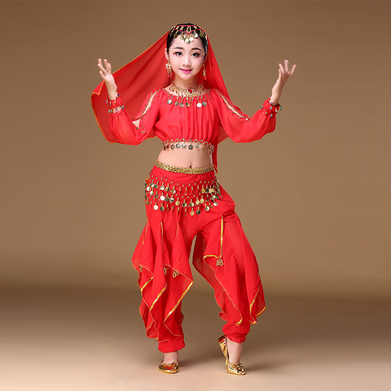 10112ab852 Aliexpress.com : Buy New Children Girls Belly Dancing Costumes Set Red  Yellow Rose 4 Piece Kids Sexy Indian Dancing Suit Competition Costume from  Reliable ...