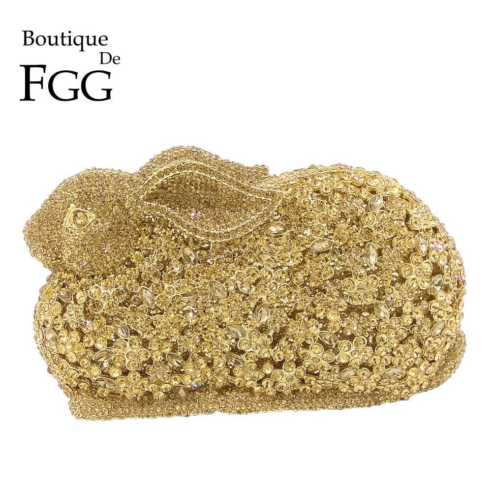 Boutique De FGG Rabbit Bunny Women Gold Crystal Minaudiere Clutch Evening Bag Diamond Wedding Party Bridal Animal Handbag Purse