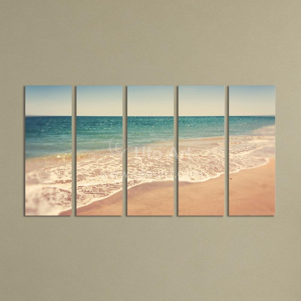 Modern 5 Panel Wall Art Painting Ocean Beach Decor Canvas