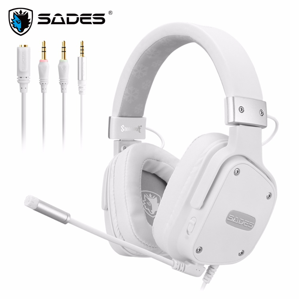 SADES Snowwolf Gaming Headset Headphones 3.5mm For PC/laptop/PS4/Xbox One (2015 Version)/Nintendo Switch/VR/Mobile image