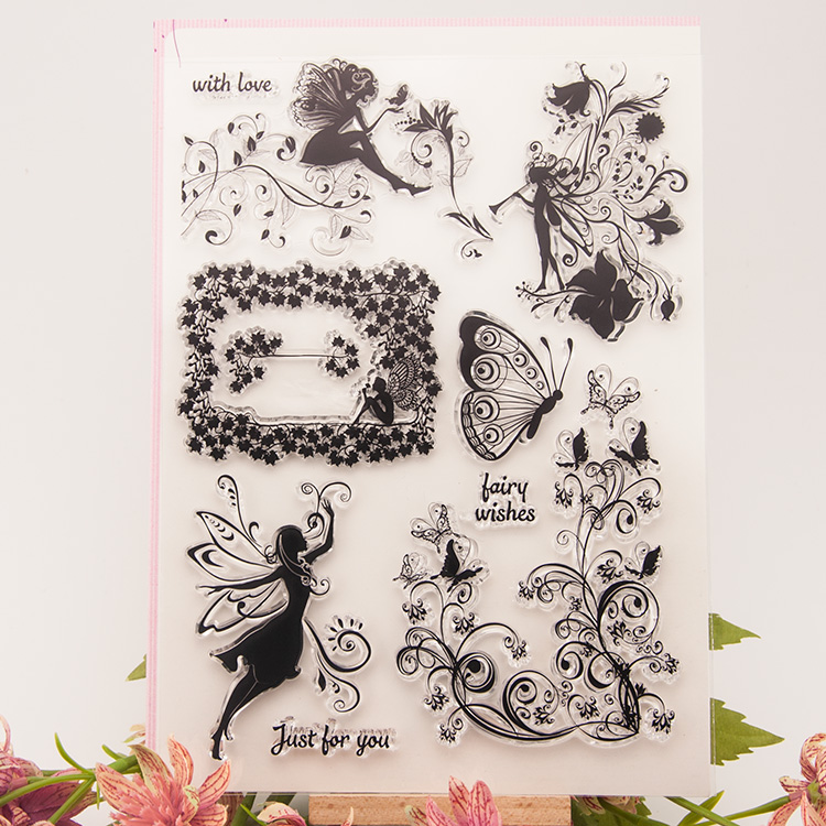 DIY flower butterfly fairy wish vine beautiful pattern transparent silicone clear scrapbooking stamp 16x20cm lovely animals and ballon design transparent clear silicone stamp for diy scrapbooking photo album clear stamp cl 278