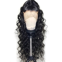 HairUGo Deep Wave 13*4 Lace Front Human Hair Wigs For Women Black Color Peruvian Lace Wig 100% Human Hair Full Lace Front Wigs