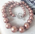 """Graduated Brown Coffee Mother of Pearl Necklace 8 16mm 18"""""""