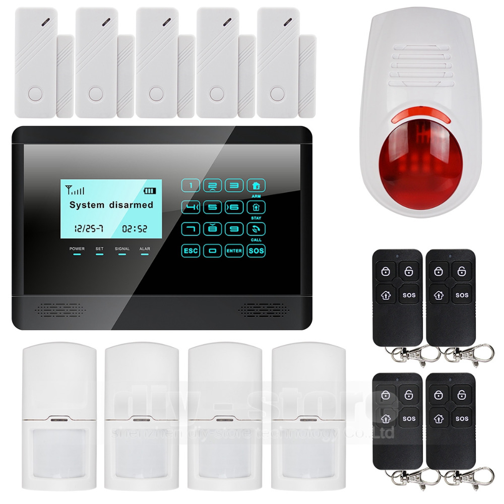 DIYSECUR Wireless Wired GSM Home font b Alarm b font System Touch Panel Flash Sensor SMS
