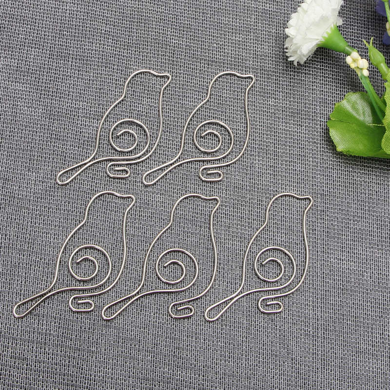 5Pcs Paper Clip Cute Bird Metal Paper Clips Pin Book Bookmark Memo Clip Office School Stationery New Fashion Design