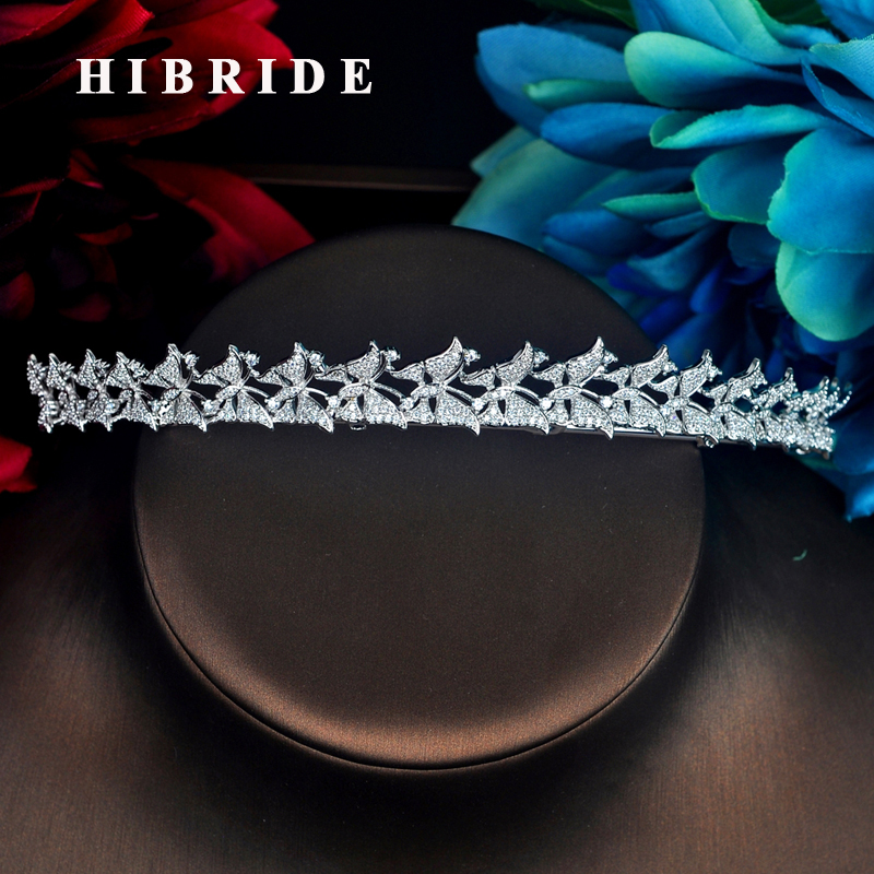 HIBRIDE Sparkilng Full Cubic Zircon Bridal Tiara And Crown Butterfly  Shape Coroa Noiva Women Crown Bijoux Hair Accessories C-75