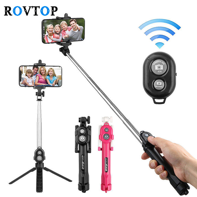 Rovtop Protable Tripod Monopod Selfie Stick Bluetooth Selfie Stick Tripods With Button For iphone 6 7 8 Plus IOS Android
