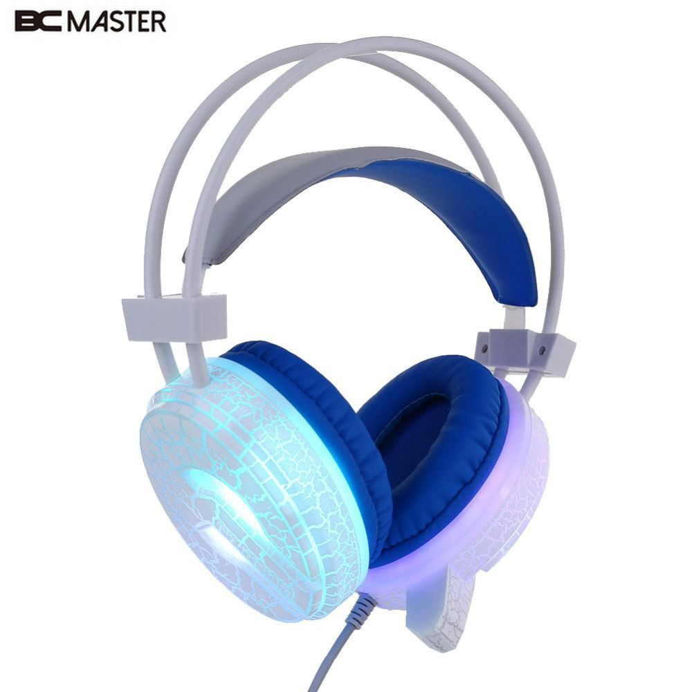 2017 USB 3.5mm Wired LED Luminous Crack Gaming Headphone Earphone w/ MIC For PC