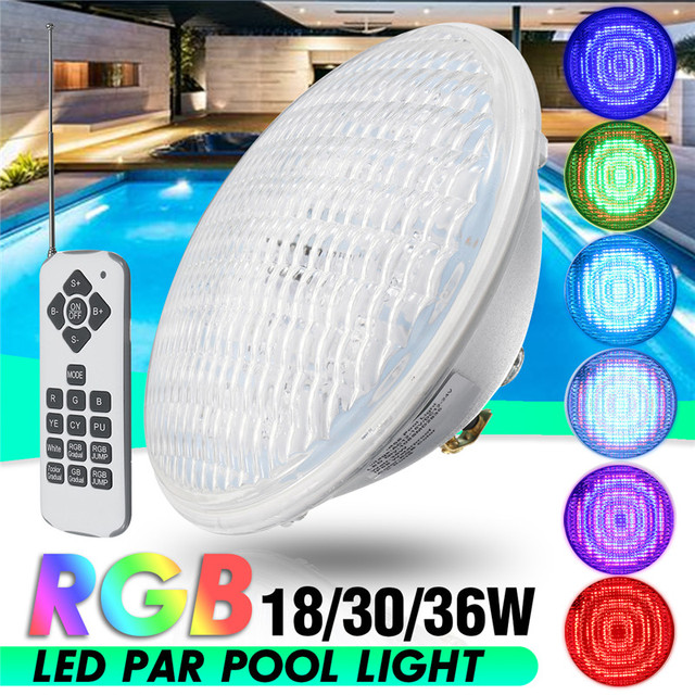 US $42.96 46% OFF|18/30/36W Underwater Swimming Pool RGB Lamp Color  Changing Wall Mounted Waterproof IP68 Submersible Light with Remote  Controller-in ...