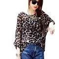 FGirl женская футболка Растениеводство Топ Корея Мода Leopard Печати Шифон Топ Футболки для Женщин FG30559