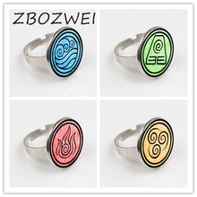 ZBOZWIE 2018 New Avatar The Last Airbender Ring Kingdom Jewelry Air Nomad Fire And Water Tribe Ring Glass Dome Ring glass dome bronze avatar theme the last airbender fire airbending design pendant pocket watch with chain necklace