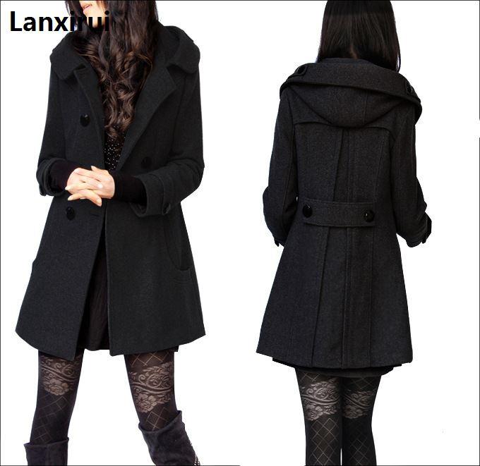 Nouvelle Hiver col de fourrure manteau en laine Laine Coupe-Vent Femmes manteau de cachemire veste d'hiver femmes Femme Plus - 5