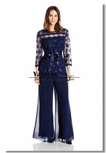 Two pieces Navy Lace mother of the groom pants suits