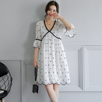 Summer Chiffon Expectant Mother Casual Half Sleeve Loose Big Size Maternity Dress Pregnant Women Clothes Embroidery