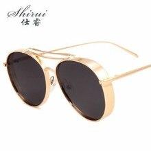 Retro Steampunk Sunglasses Men sunglasses Women Vintage Oval Mirrored Metal Punk Gothic Sun Glasses oculos de sol feminino