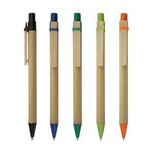 Image 5 - Caneta de madeira, lote 50 peças de caneta de esfera de papel eco, conceito verde, amigável, logotipo personalizado de promoção