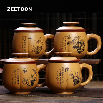 475ml Authentic Yixing Teacup Chinese Health Care Purple Clay Officc Meilanzhuju Cup Handmade Ceramics Coffee Plum cups Gift Box
