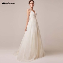Sexy Spaghetti Straps Tulle Wedding Dress Vestido De Novia Sleeveless V-neck Backless Bride Dresses Robe De Mariage