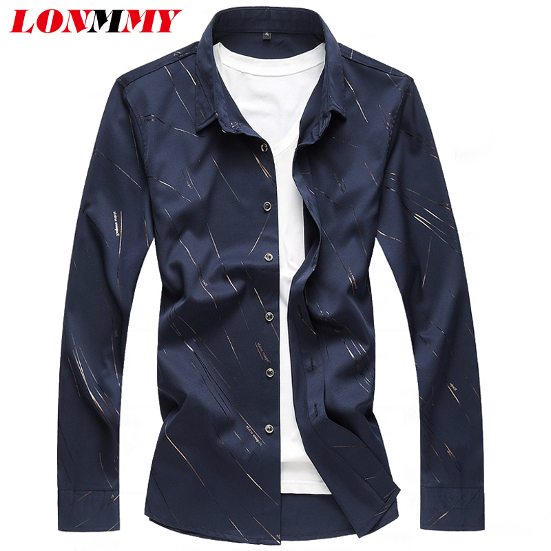 LONMMY 6XL 7XL Mens shirts casual slim fit Long sleeve Men clothes Shirts men dress camisa masculina navy blue white 2018 Sping