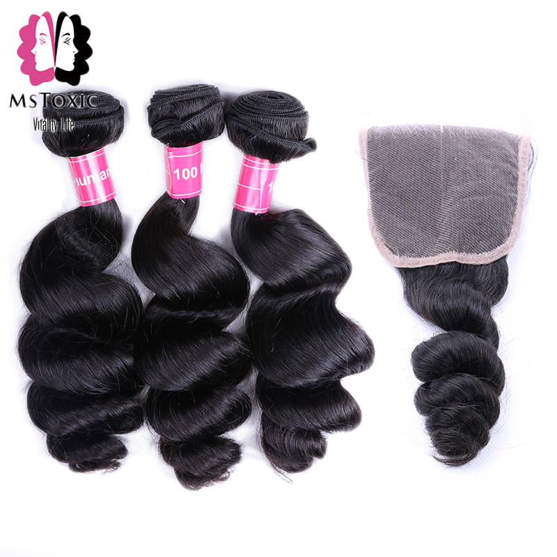 Mstoxic Brazilian Loose Wave Bundles With Closure 100% Human Hair 3 Bundles With Closure Non Remy Hair Extensions Natural Color