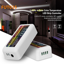 Mi Light FUT035 2.4G RF Wireless 4 Zone Color Temperature Adjustable CCT dimming Controller Dimmer for WW/CW Dual LED Lamp Strip 1 x mi light ac86 265v e27 9w cw ww led lamp color temperature dimmable led bulb 1 x 2 4g wireless ios android wifi controller