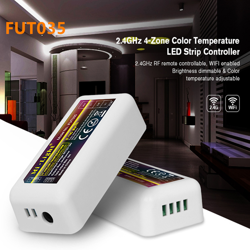 Mi Light FUT035 2.4G RF Wireless 4 Zone Color Temperature Adjustable CCT dimming Controller Dimmer for WW/CW Dual LED Lamp Strip