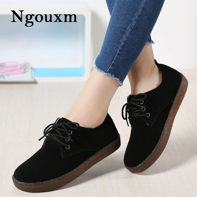 e4c495671d1854 Ngouxm 2018 spring Autumn Women s oxford shoes casual flats shoes women  leather suede sneakers shoes round toe flats