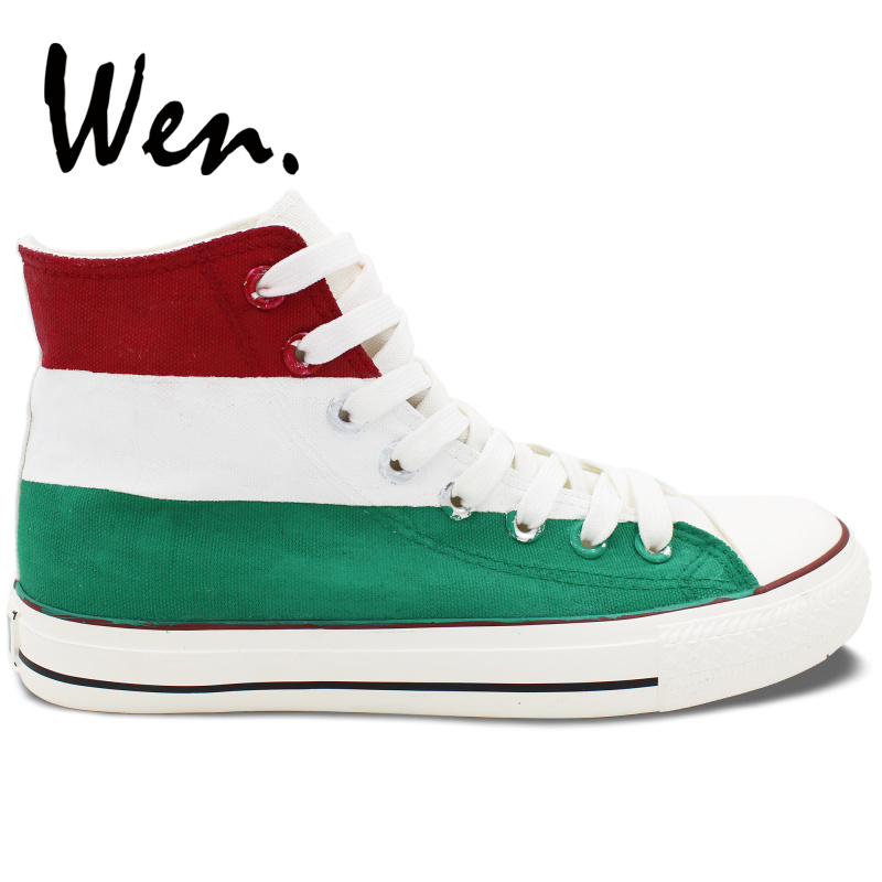 Wen Hand Painted Shoes Design Custom Hungary Flag Unisex High Top Canvas Sneakers Platform Gym Trainer Lace up PlimsollsWen Hand Painted Shoes Design Custom Hungary Flag Unisex High Top Canvas Sneakers Platform Gym Trainer Lace up Plimsolls
