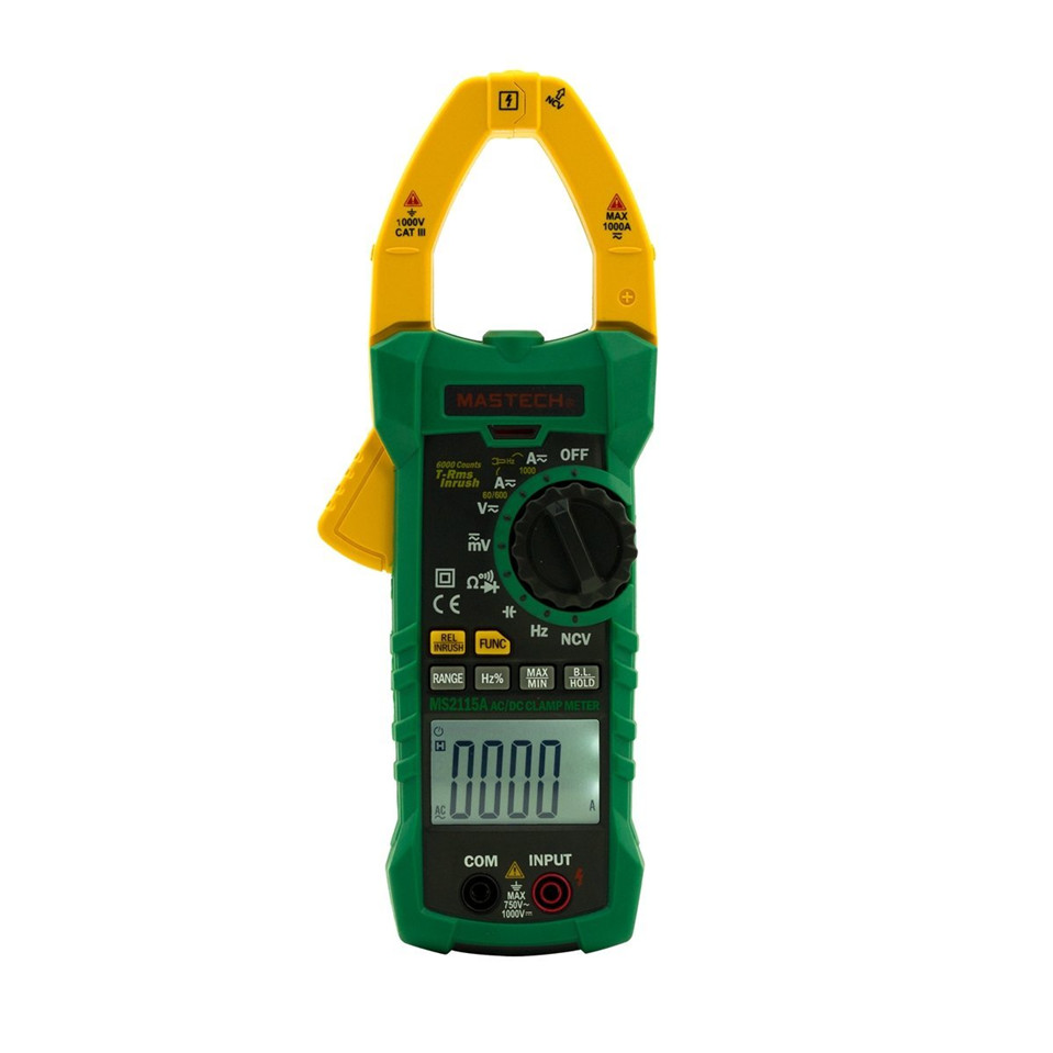 1pcs Mastech MS2115A 6000 Counts True RMS Digital Clamp Meter AC/DC Voltage Current Tester with INRUSH and NCV Measurement mastech ms2115b digital ac dc clamp metewith 6000 counts ncv true rms ac dc voltage current tester detector with usb