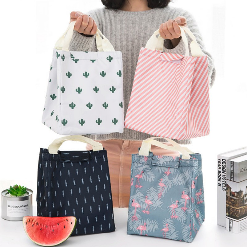 Fashion flamingos cactus Practical Portable Waterproof Cooler Ice bag Lunch Bag Leisure Picnic Packet Bento Box Food Thermal bag